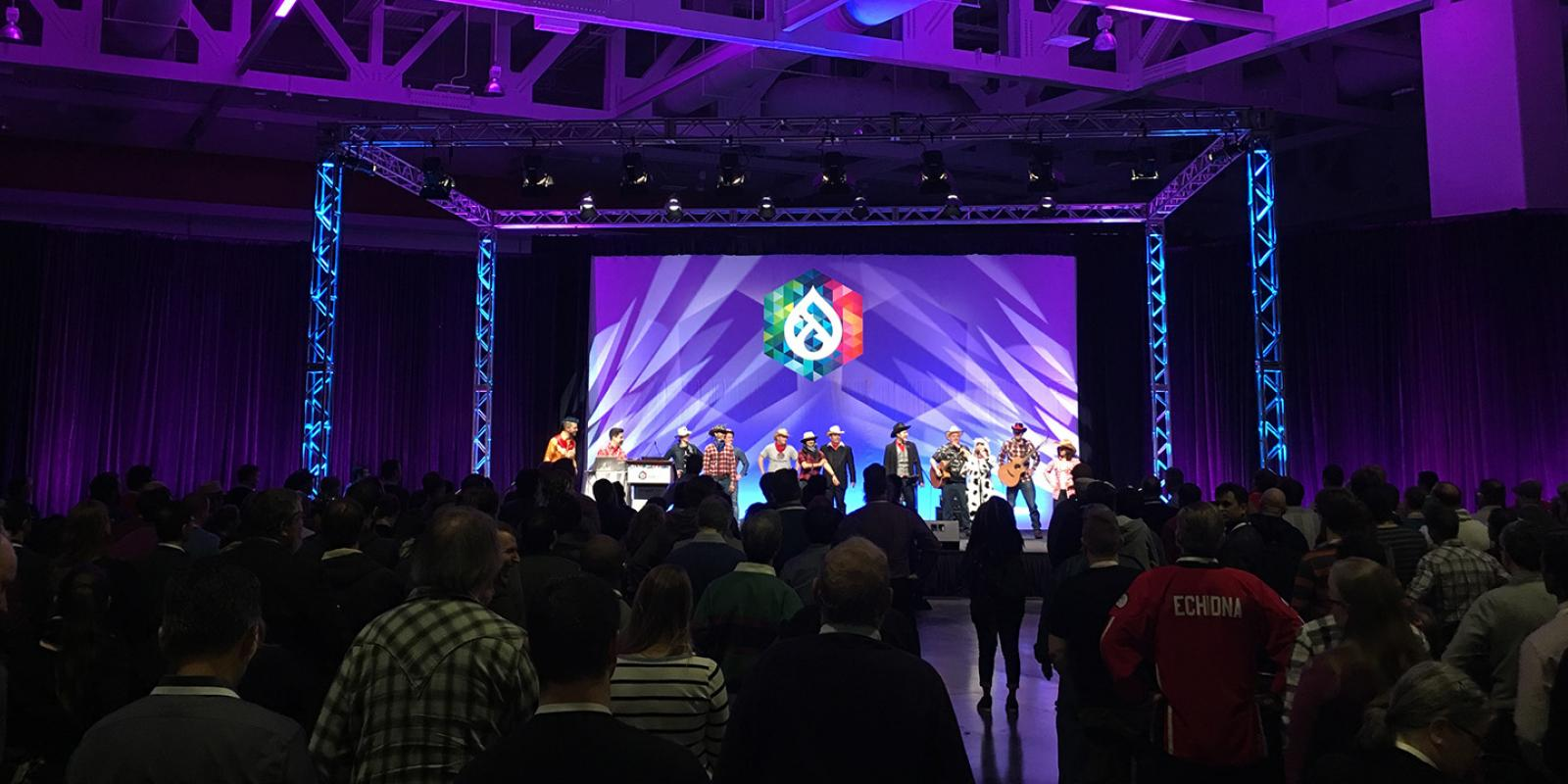 view to the stage at DrupalCon 2018