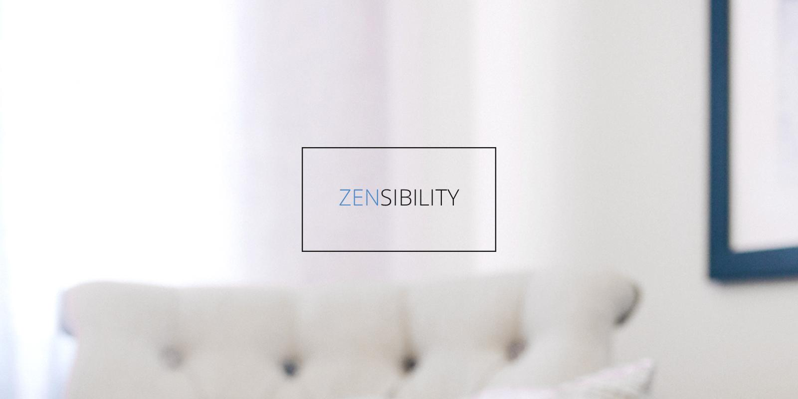 Zensibility Logo in front of a chair and wall